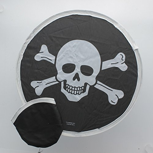 Fun Express Nylon Pirate Folding Flyers In Pouch Lot of 12 Jolly Rogers Skull & Crossbones