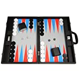 19-inch Premium Backgammon Set - Large Size - Black Board, Scarlet Red and Patriot Blue Points
