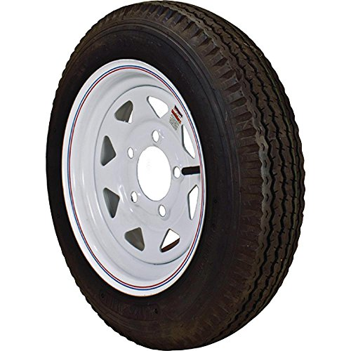 Loadstar 480-12 K353 BIAS 780 lb. Load Capacity White with Stripe 12 in. Bias Trailer Tire and Wheel Assembly 3S560 and Toucan City Tool kit (9-Piece) by Toucan City (Image #1)