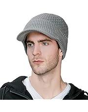 Jeff & Aimy Męska ciepła czapka z dzianiny czapka zimowa dziergana czapka beanie z daszkiem, damska