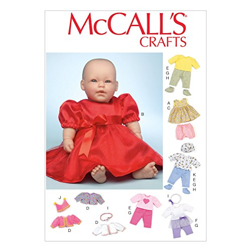McCall Pattern Company M7066 Clothes and Accessories for 11-Inch to 12-Inch and 15-Inch to 16-Inch Baby Doll Sewing Template, One (Baby Accessories Pattern)