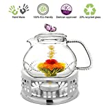 Teapot Set Teapot Pink Butterfly 24 Oz and Stainless Steel Tea Warmer Alex for Flowering Tea Green Tea Black Tea Puer