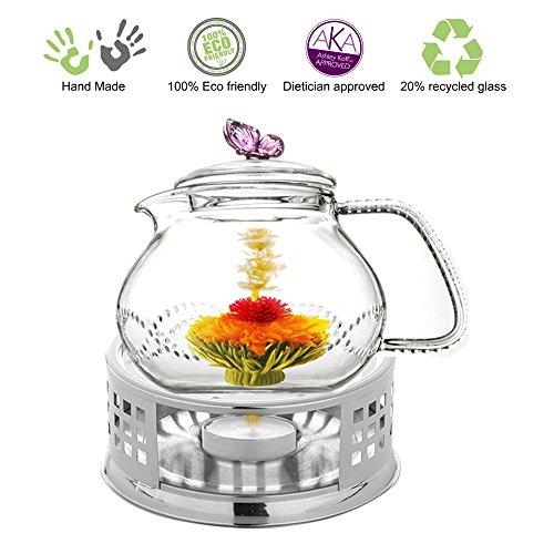 Teapot Set Teapot Pink Butterfly 24 Oz and Stainless Steel Tea Warmer Alex for Flowering Tea Green Tea Black Tea Puer