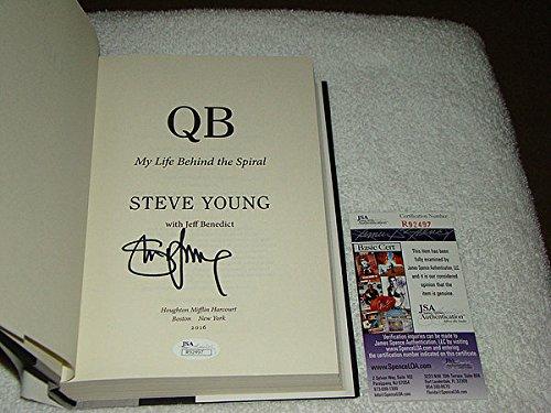 Steve Young Hand Signed (Steve Young Hand Signed 1St Ed Hb Book Qb My Life Behind The Spiral JSA #R92497)