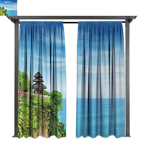 (shenglv Balinese, Patio Curtains, Uluwatu Temple Bali Indonesia Seacoast Cliff Horizon Summer Seascape Nature Print, Outdoor Curtain for Patio (W108 x L108 Inches, Blue Green))
