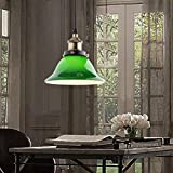 JiaYouJia Vivid Emerald Green Glass Pendant Light,Large Style