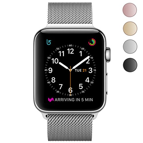 OROBAY Replacement Band for Apple Watch, Stainless Steel Mesh Loop Magnetic Closure Clasp Apple Watch Wristband Strap for Apple iWatch Sports&Edition … (Silver, 42 mm)