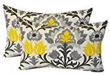 Cheap Set of 2 – Indoor / Outdoor Jumbo, Large, Over–sized, Rectangle / Lumbar Chaise Lounge Decorative Throw / Toss Pillows – Yellow, Gray, Black Ornate Floral