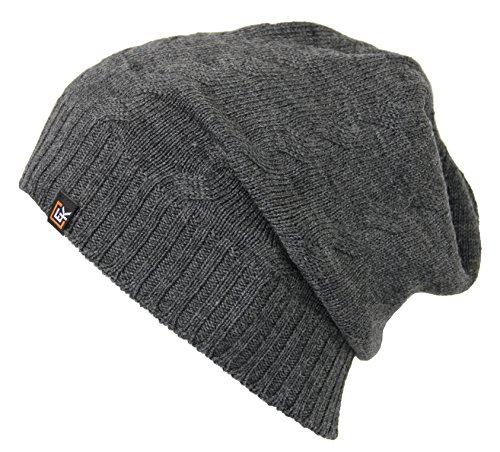 - Evolution Knitwear 100% Wool Cable Knit Beanie Hat Cap for Women & Men (Steel)