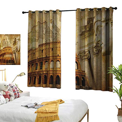 """Luckyee Decor Curtains by,Retro,72"""" x 63"""",Roman Empire Concept Famous Columns Sculptress Colosseum Map of The Nation Print,Suitable for Bedroom Living Room Study, etc."""