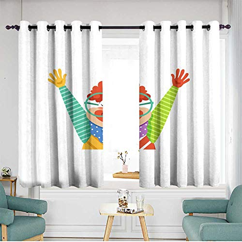 Sillgt Indoor/Outdoor Curtains Funny Circus Clown in Traditional Makeup and Glasses Cartoon Friendly Clown in Classic Outfit Vector Illustration Blackout Draperies for Bedroom W 63