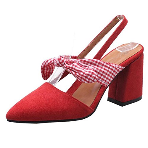 TAOFFEN Women Block Heel Sandals Shoes Slingback Red-7 ZI5QQ