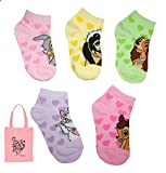 Disney Little Girls' Mult-Character Low Cut Socks & Tote - 6 Piece Gift Set