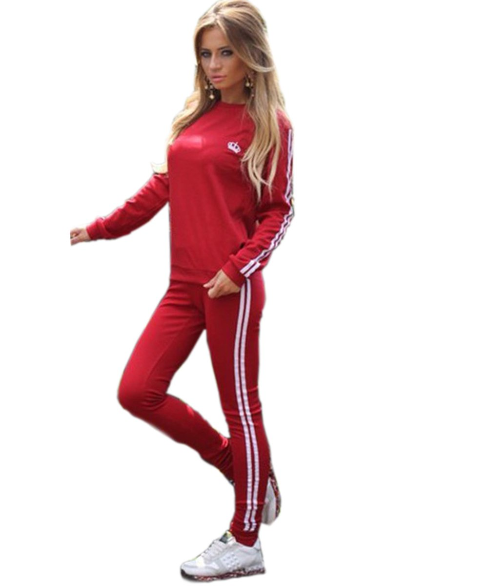 Akery Womens Sports Pullover Hoodie Tracksuit Sweat Pants Set 2 Pcs,Red,X-Large