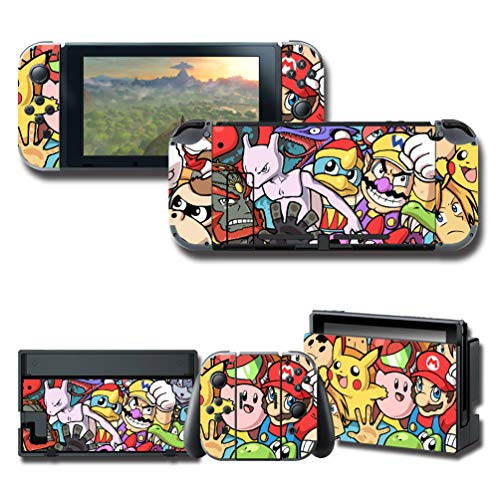 Nintendo Decal Set - Protector Wrap Skin Decal for Nintendo Switch, Games Full Set Protective Faceplate Stickers Console Joy-Con Dock
