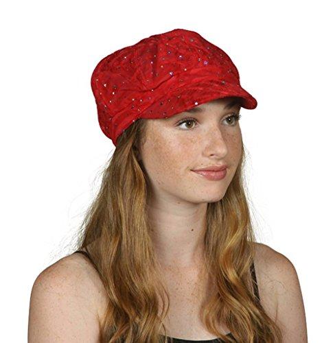 TOP HEADWEAR TopHeadwear Glitter Sequin Trim Newsboy Hat - Red by TOP HEADWEAR