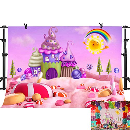 PHMOJEN Cartoon Candyland Background Fairy Tale Lollipops Rainbow Photography Backdrop Kids Theme Birthday Party Decoration Background Room Wallpaper Studio Props 10x7ft GYPH270