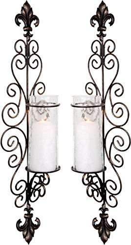 Set of Two Decorative Bronze Metal Wall Sconce And Crackle Finished Hurricane Candle Holders, Wall Lighting – Perfect For A Living Room – Dining Room Or Entry Way