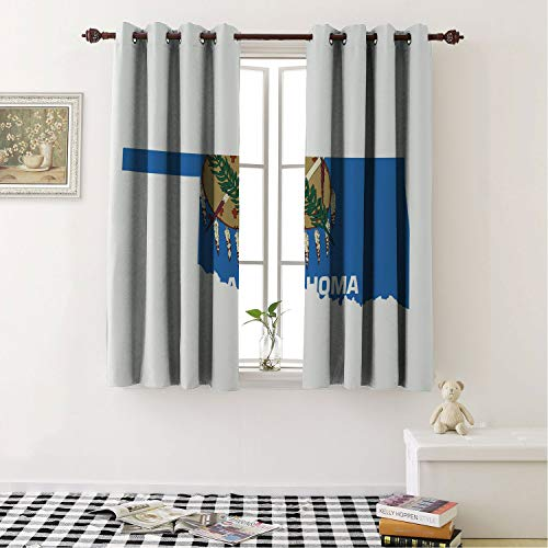 - Mozenou Blackout Curtain Grommet Panels Oklahoma The Sooner State Flag as Map Native American Peace Pipe Olive Branch Osage Blue Multicolor for Living Room Window Treatment Drapes 55 by 63 in