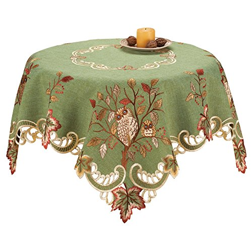 Embroidered Table Linens Green Square