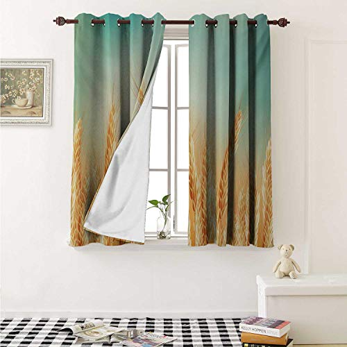 - shenglv Harvest Drapes for Living Room Wheat Field and Blue Sky Agriculture Themed Abstract Composition Curtains Kitchen Window W96 x L72 Inch Yellow Orange Mint Green