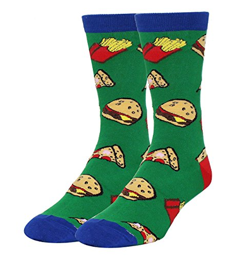 Zmart Men's Novelty Colorful Crazy Food Cotton Crew Socks Funny Hamburg Pizza Pattern