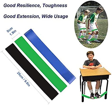 3 Pack Pack of 3 Chair Bands for Kids with Fidgety Feet Fidget Bands for Kids with Sensory ADHD ADD SPD Autism Sensory Needs Natural Latex Stretchy Foot Bands for Home Classroom Chairs School Desks