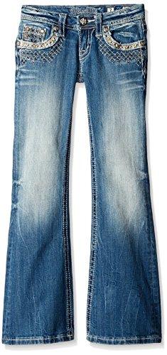 Miss Me Girls' Big Lace Embellished Boot Cut Denim Jean, Medium 10