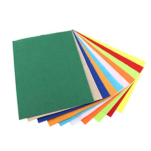 (10 Pcs Assorted Color Felt Fabric Nonwoven Sheets For DIY Craft Sewing 20 × 30cm)