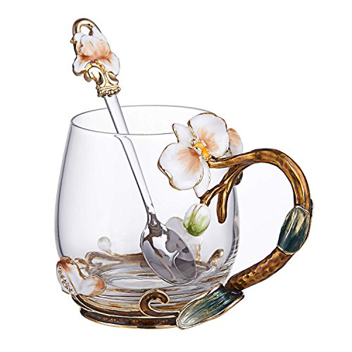 SEMAXE Glass Tea Cup, 11 Ounces, Handmade Orchid