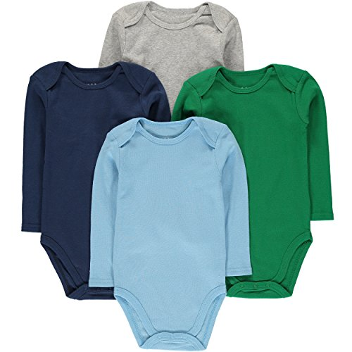 Wan-A-Beez Unisex Baby 4 Pack Long-Sleeve Bodysuits (0-3 Months, Solid Multi)