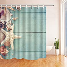 Starfish Decor Shower Curtains By KOTOM Starfish on Wood Board Bath Curtains, 69X70 Inches