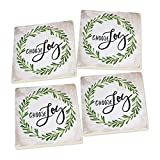 Choose Joy Laurel Wreath Script Design Set of 4 Ceramic Coaster Pack