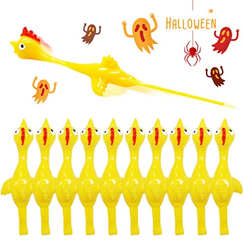 Rubber Chicken Slingshot Novelty Stress Flickin Chicken Game Flying chickens Toys Sticky Rubber Slingshot Chicken Dog Toy Office Pranks Easter Chicks Halloween Games Turkey Toys for Kids Adults 10 PCS
