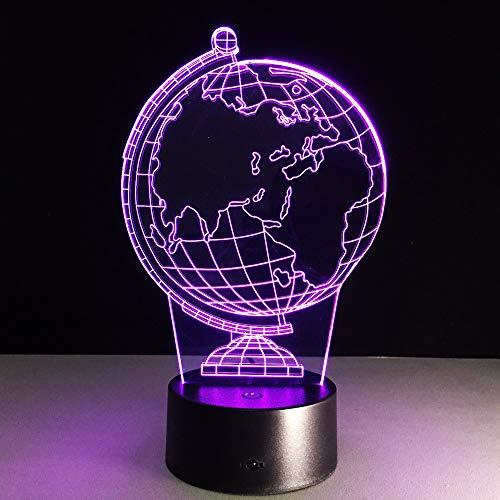 Xiujie 3D Earth Globe Led 7 Color Change Flash Light Table Bedside Baby Sleep Night Lamp Novelty Child Kid Holiday Gift Classroom Decor