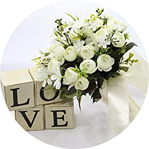 can't be satisfied Ivory Rose Bridesmaid Wedding Foam Flowers Rose Bridal Bouquet Ribbon Artificial Wedding Bouquet 103