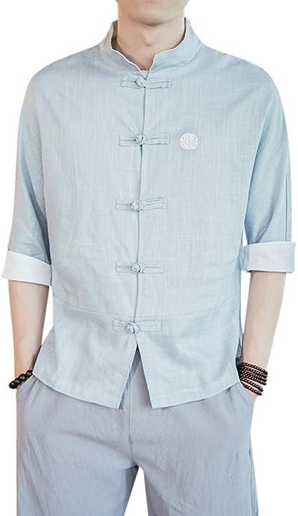 Camisa Hombre Blusa Suelta Casual Transpirable Top De Manga 3/4 Camisas De Lino: Amazon.es: Ropa y accesorios