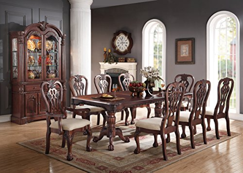 Dining Table Hutch - Traditional Formal Cherry Wood 9pc Dining Set Rectangle Top Dining Table w Leaf Floral Design Framed Side Chairs Cream Upholstery Cushion Seat Chairs And Arm Chairs