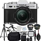 Fujifilm X-T10 (Silver) - International Version (No Warranty) + Fujinon XF 18-55mm Lens + 64GB SD Memory Card + 0.43x Wide Angle Lens with Macro + 60 Tripod + LED Light + Medium Carrying Case & More!