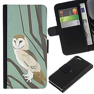A-type (School Pastel Watercolor Teal Brown) Colorida Impresión Funda Cuero Monedero Caja Bolsa Cubierta Caja Piel Card Slots Para Apple (4.7 inches!!!) iPhone 6 / 6S