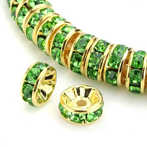 (100pcs 6mm Top Quality A Rhinestone Crystal Rondelle Spacer Loose Round Beads (Peridot green) 14K Gold Plated Brass Metal)