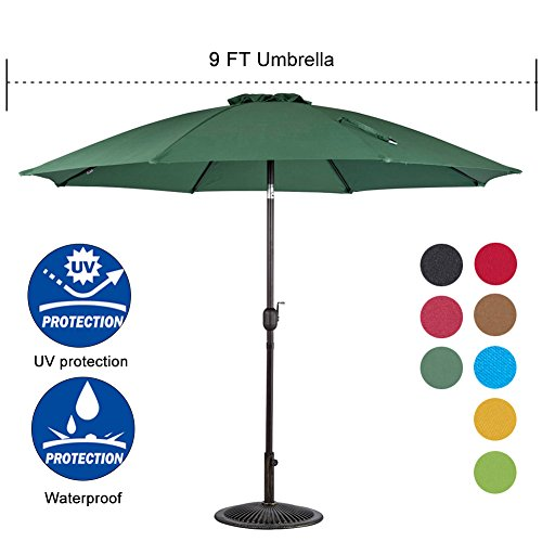 Sundale Outdoor 9 Feet Aluminum Market Umbrella Table Umbrella with Crank and Push Button Tilt for Patio, Garden, Deck, Backyard, Pool, 8 Fiberglass Ribs, 100% Polyester Canopy (Dark Green) 100 Patio Umbrella