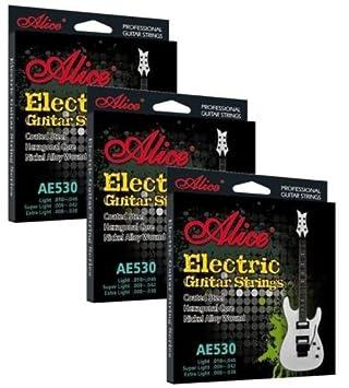Alice 3 Pack Cuerdas Guitarra Eléctrica REVESTIDOS Ligero Calibre ae530sl .009 042: Amazon.es: Instrumentos musicales