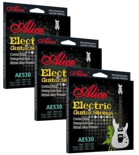 Alice 3 Pack Cuerdas Guitarra Eléctrica REVESTIDOS Ligero Calibre ae530l .010 046: Amazon.es: Instrumentos musicales