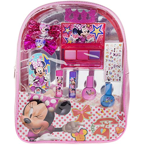Minnie Mouse Backpack Cosmetic Set, Includes: Lip Gloss Compact, Hair Bows, Nail Polish, Nail File, Lip Balm, Toe Spacer, Nail Stickers ()