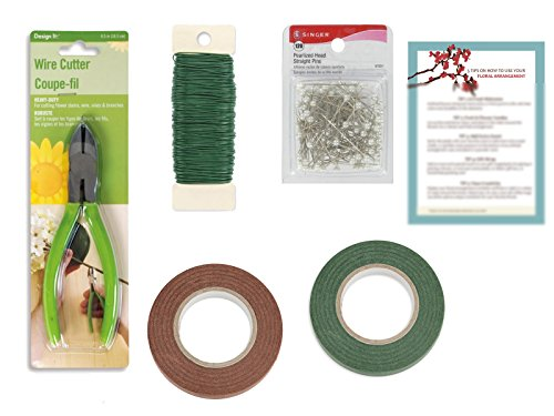Floral Arrangement Tool Kit: Paddle Wire 22 Gauge, Cutter, 120 Pearlized Pins Long, Green and Brown Tape