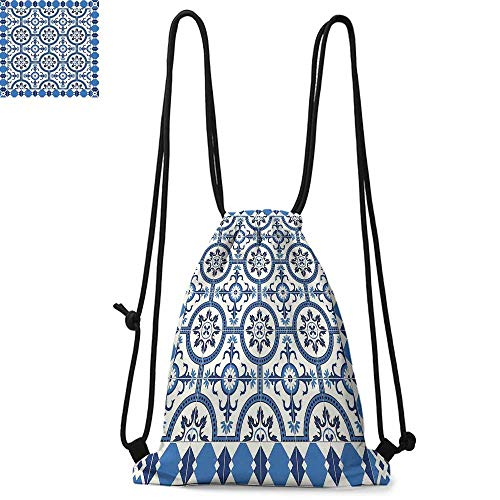Moroccan Durable Drawstring Backpack Oriental Turkish Style Inspired Arabesque Mosaic Motifs in Classic Retro DesignSuitable for carrying around W17.3 x L13.4 Inch Grey Blue