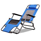 ZXL Blue Deck Chairs Summer Household Beach Sun Lounger Multifunction Portable Folding Chairs (Size : Standard Edition)