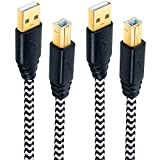 Printer Cords, Besgoods 2-Pack 10ft Long Braided USB 2.0 A Male to B Male Printer Scanner Cable Compatible with HP, Canon, Dell, Epson, Lexmark, Xerox, Samsung and More - White