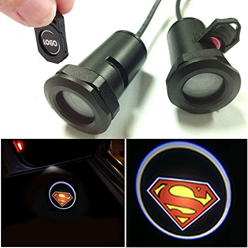CHAMPLED for Superman Car LED Laser Projector Illuminated Emblem Under Door Step Courtesy Light Lighting Symbol Sign Badge Glow Replacement Logo Film Auto Acessories